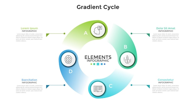 Diagrama cíclico de gradiente colorido com 4 elementos redondos, símbolos de linha fina, letras e caixas de texto. conceito de visualização do ciclo de produção. modelo de design moderno infográfico. ilustração vetorial.