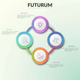 Diagrama circular, 4 conectados gradiente redondo elementos coloridos com números, ícones de linha fina e caixas de texto.