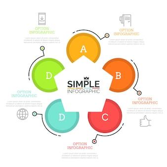 Diagrama circular com 5 elementos redondos marcados com letras, pentágono no centro, ícones de linha fina e caixas de texto. gráfico com cinco opções.