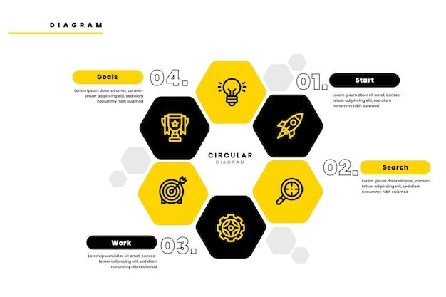 Diagrama circular de design plano