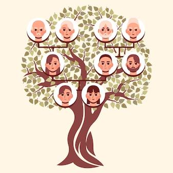 Diagrama da árvore genealógica desenhada à mão