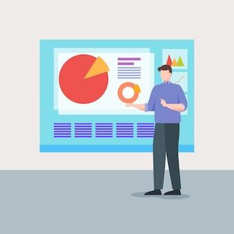 Diagrama de apresentação de homem de negócios