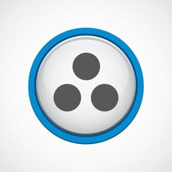 Diagrama de círculo brilhante com ícone de traço azul, círculo, isolado