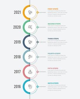Diagrama de círculo de infográficos de linha do tempo vertical moderno com ícone de seis etapas