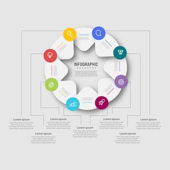 Diagrama de design de modelo de infográficos criativos de negócios