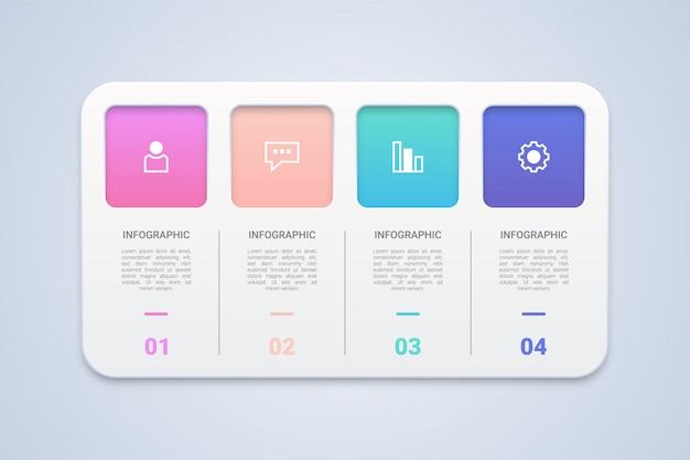 Diagrama de fluxo de trabalho de etapa de infográfico 3d