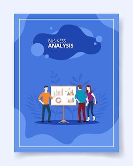 Diagrama de gráfico analítico de pessoas de análise de negócios na tela