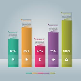 Diagrama de gráfico de barras diagrama de etapas estatística negócios infográfico ilustração