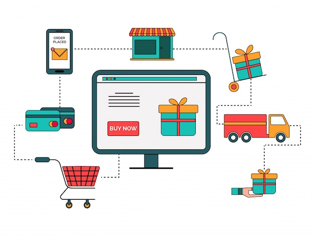 Diagrama de infografia do processo de compras on-line em estilo plano.