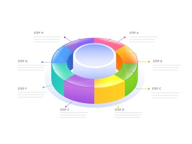 Diagrama de infográfico 3d circular para modelo de negócios
