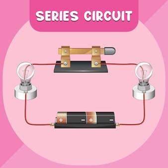 Diagrama de infográfico de circuito em série