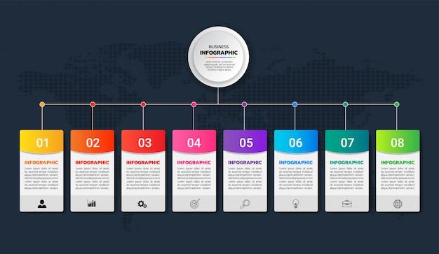 Diagrama de infográficos coloridos 8 opções de vetor