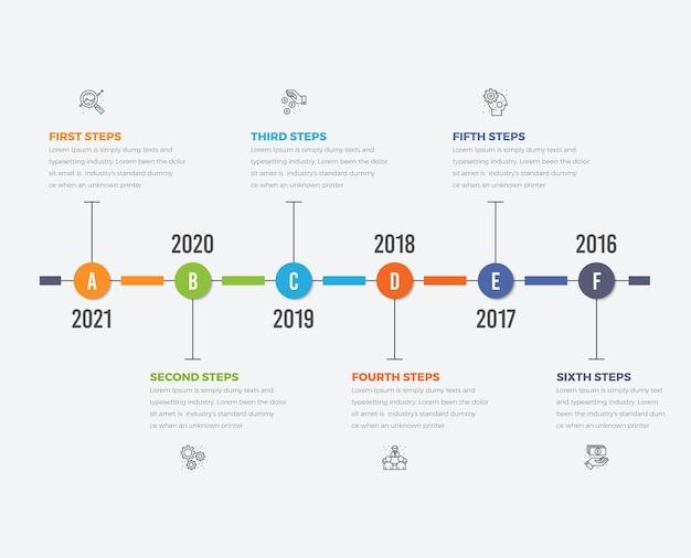 Diagrama de infográficos da linha do tempo com seis etapas