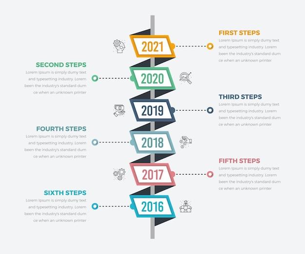 Diagrama de infográficos de linha do tempo vertical com elemento de papel e ícone de seis etapas