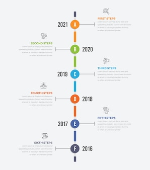Diagrama de infográficos de linha do tempo vertical, linha fina com ícones de seis etapas
