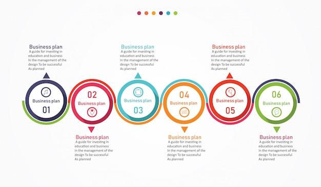 Diagrama de negócios e educação pela etapa 6 ilustração vetorial