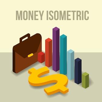 Diagrama de pasta de negócios e dinheiro dólar isométrico