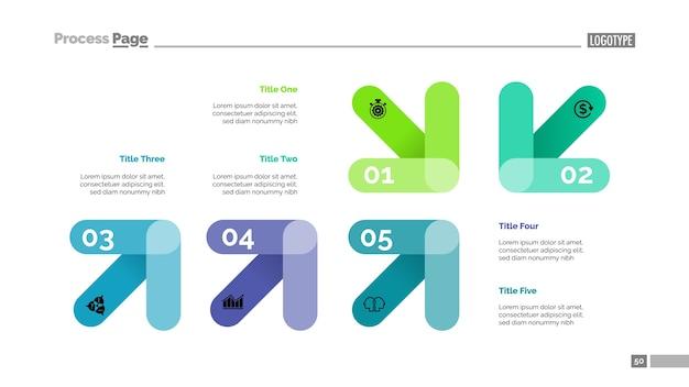 Diagrama de seta com cinco elementos