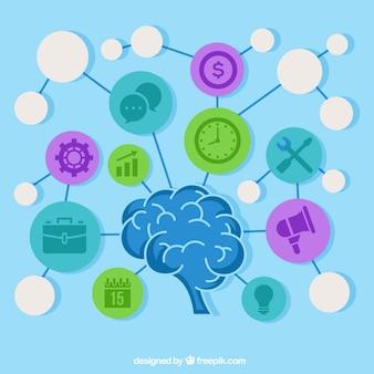 Diagrama divertido com cérebro e ícones