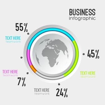 Diagrama do círculo de negócios com porcentagem do botão redondo e ícone do globo
