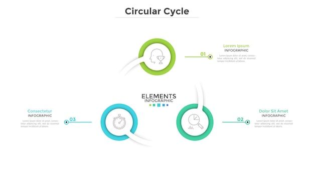 Diagrama em anel com 3 elementos redondos de papel branco. conceito de processo de negócios cíclico com três etapas. limpe o modelo de design do infográfico. ilustração vetorial moderna para apresentação.