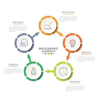Diagrama em forma de anel com 5 elementos circulares brancos de papel conectados por setas. modelo de design moderno infográfico. ilustração vetorial para visualização das etapas do ciclo de produção, gráfico de processo cíclico.