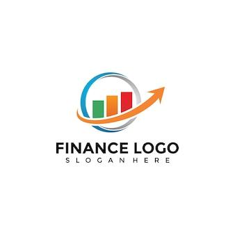 Diagrama financeiro e modelo de logotipo de seta