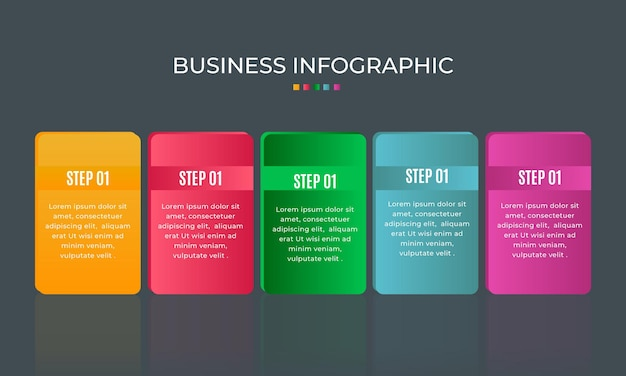 Diagrama gráfico gráfico gráfico de elementos de 5 etapas infográfico design de gráfico de negócios