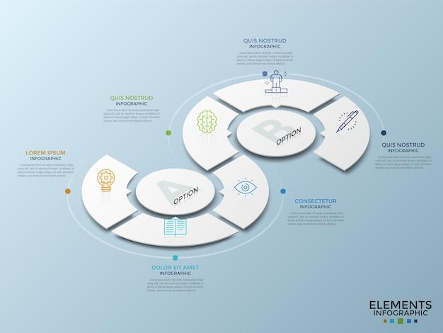Diagrama isométrico com círculos brancos de papel rodeados por setores, símbolos lineares e caixas de texto. conceito de funcionalidades dos serviços prestados pela empresa. modelo de design do infográfico. ilustração vetorial.