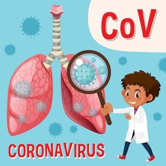 Diagrama mostrando o coronavírus com médico e fechar a célula