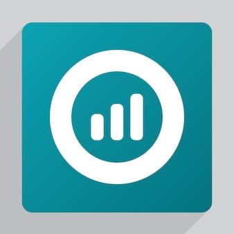 Diagrama plano de negócios, ícone de gráfico, branco sobre fundo verde