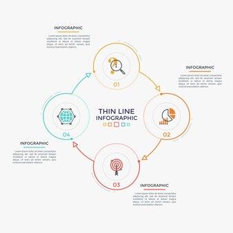 Diagrama redondo com quatro elementos circulares coloridos, números e símbolos de linha fina conectados por setas. visualização cíclica do processo de negócios. limpe o modelo de design do infográfico. ilustração vetorial