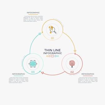 Diagrama redondo com três elementos circulares coloridos, números e símbolos de linha fina conectados por setas. visualização cíclica do processo de negócios. limpe o modelo de design do infográfico. ilustração vetorial