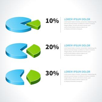 Diagramas circulares 3d e elementos de design vector por cento isolados no fundo branco para infográficos