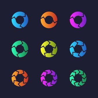 Diagramas circulares da torta do gráfico com opções. gráficos de marketing vetoriais, coleção infochart