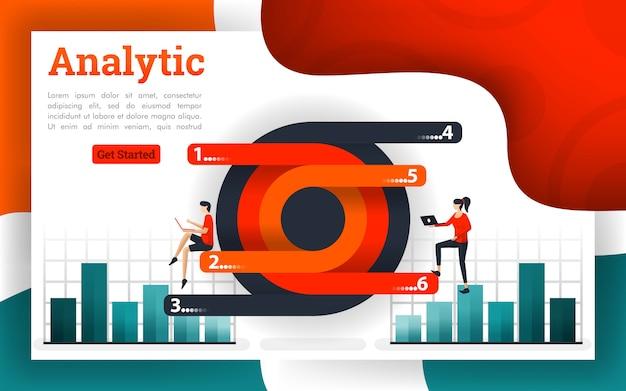 Diagramas circulares e modernos com gráficos analíticos