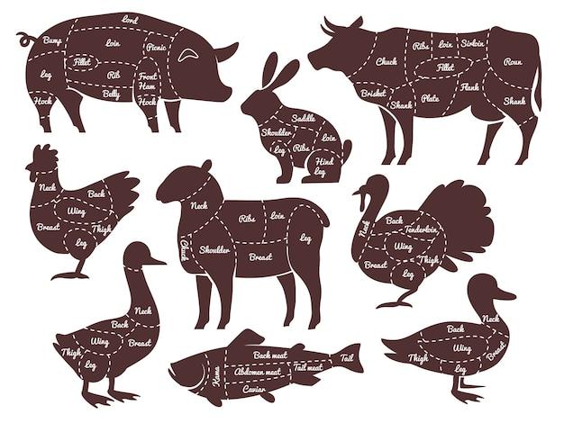 Diagramas de açougueiro linhas de corte diferentes peças silhuetas de animais domésticos de fazenda