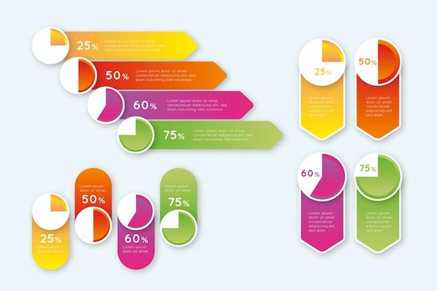 Diagramas de bola de harvey de gradiente - infográfico