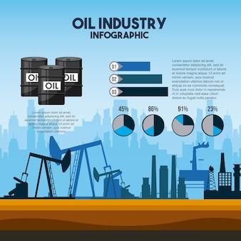 Diagramas de extração de bomba de infografia da indústria de petróleo