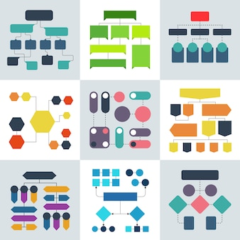 Diagramas de fluxo estrutural, fluxogramas e estruturas de processo de fluxo, elementos de infográficos