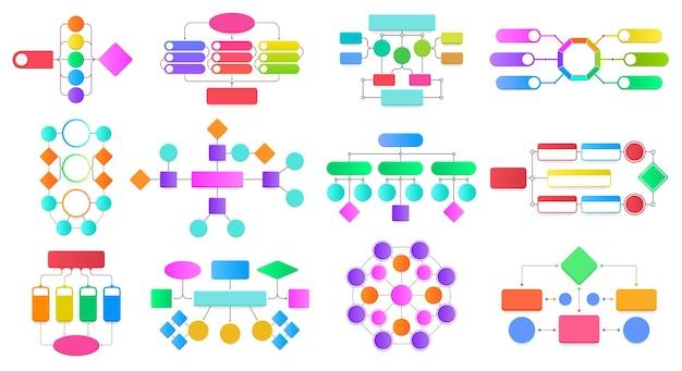 Diagramas de fluxograma de infográfico conjunto de vetores de diagramas de fluxograma de bloco de trabalho, processos de estrutura de esquemas