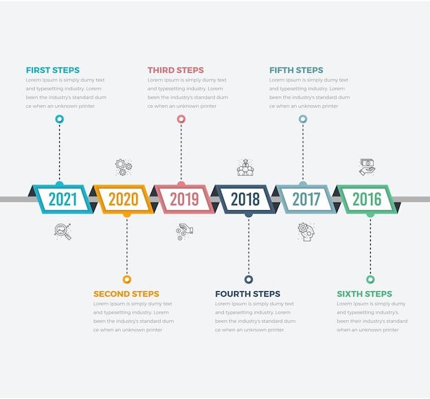 Diagramas de infográfico da linha do tempo e texto com seis etapas