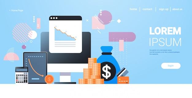 Diagramas de queda gráficos crise financeira financeira mercado de ações bancário falha de investimento orçamento colapso conceito dinheiro saco calculadora de cartão de crédito tablet computador monitor com dados horizontais