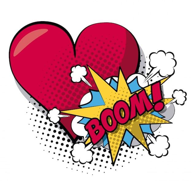 Diálogo com texto de boom e coração de closeup em meio-tom