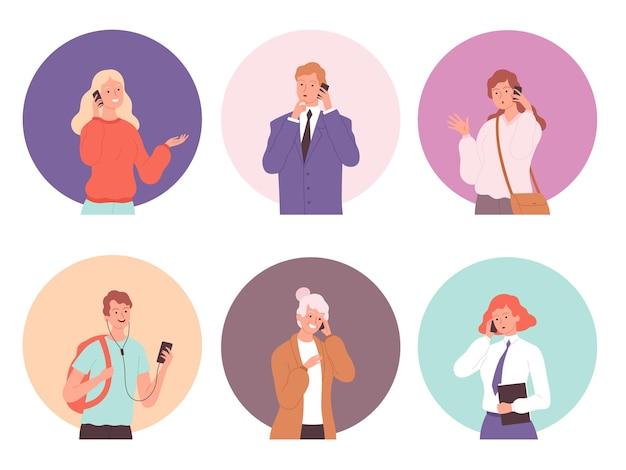 Diálogo de conversa jovem masculino e feminino no smartphone falando pessoa.