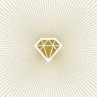 Diamante brilhante de ouro brilhante com sunburst.