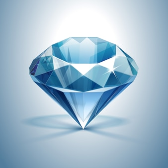 Diamante claro brilhante azul close-up isolado
