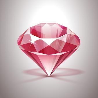 Diamante claro brilhante rosa close-up isolado