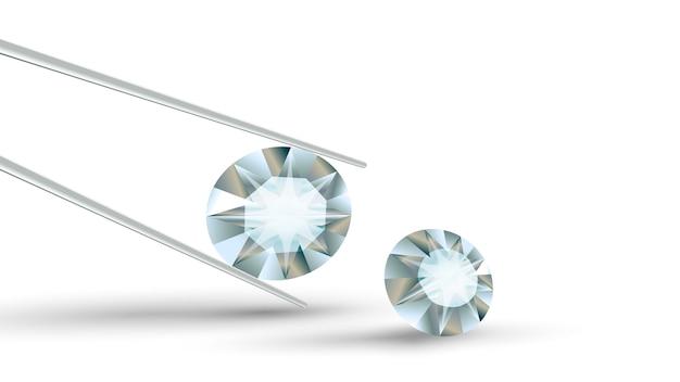Diamante claro claro brilhante em uma pinça