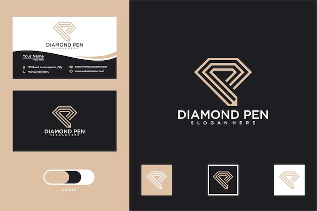 Diamante com desenho de logotipo em lápis e cartão de visita